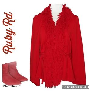 RUBY Rd Red Coat Fringed Belted Size Large